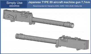 Japanese TYPE 89 aircraft machine gun 7,7mm 1/48